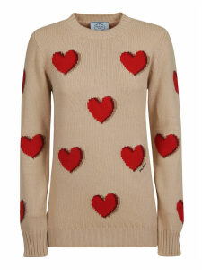Prada Heart Motif Crewneck Sweater