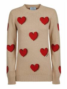 Prada Heart Motif Crewneck Sweater