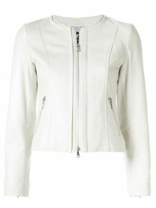 Loveless zipped leather jacket - White
