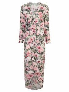 Fleur Du Mal poppy print wrap maxi dress - PINK