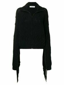 Almaz fringed sleeve zipped cardigan - Black