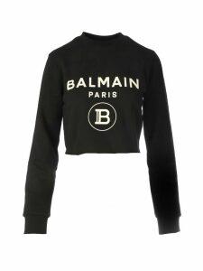 Balmain Cropped Logo Sweatshir
