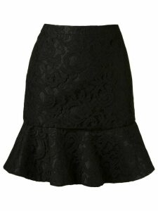 Martha Medeiros ruffled hem 'marescot' lace skirt - Black