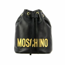 Moschino Couture Mini Bag Moschino Couture Leather Bucket Bag With Printed Logo