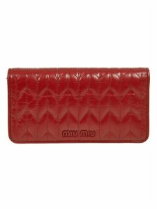 Miu Miu Embossed Logo Quilted Shoulder Bag
