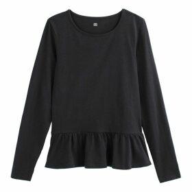Cotton Long-Sleeved Peplum T-Shirt