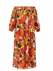 Dodo Bar Or - Julie Off-the-shoulder Floral-print Cotton Dress - Womens - Brown Print