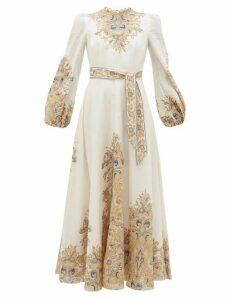 Zimmermann - Freja Paisley-print Linen Dress - Womens - White Print