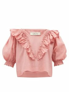 Innika Choo - Anita Eayte Ruffled Cotton Blouse - Womens - Light Pink