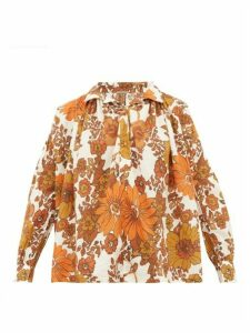 Dodo Bar Or - Valerie Floral-print Cotton Blouse - Womens - Brown Print