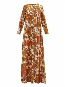 Dodo Bar Or - Nilli Floral-print Cotton-voile Maxi Dress - Womens - Brown Print