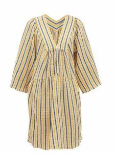 Three Graces London - Stella Striped Cotton-blend Seersucker Dress - Womens - Yellow Multi