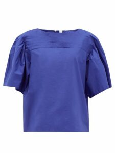 Merlette - Canova Pintucked Cotton-poplin Top - Womens - Blue