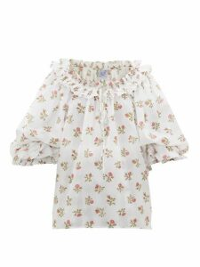 Thierry Colson - Roussia Draped Floral-print Cotton Blouse - Womens - White Print