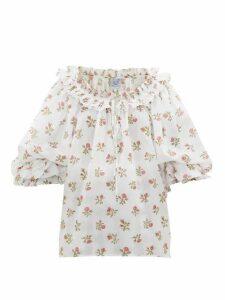 Thierry Colson - Roussia Draped Floral-print Cotton Blouse - Womens - White Print