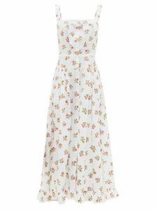 Thierry Colson - Rossana Button-down Floral-print Cotton Maxi Dress - Womens - White Print