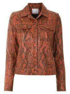 Nk animal print leather jacket - Brown