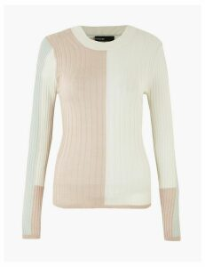 Autograph Merino Wool Rich Colour Block Jumper