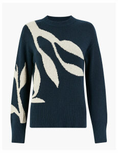 Per Una Cotton Rich Floral Intarsia Sweater