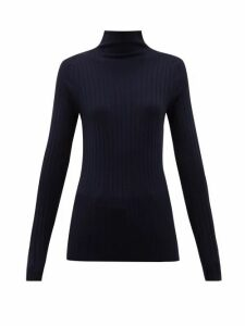 The Row - High-neck Ribbed-knit Wool-blend Sweater - Womens - Navy