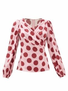 Dolce & Gabbana - Polka-dot Silk-blend Satin Blouse - Womens - Pink Multi