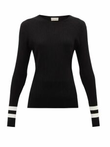 Moncler - Ribbed Intarsia-knit Sweater - Womens - Black White