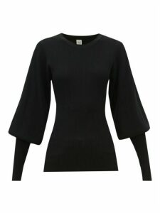 Totême - Vignola Bishop-sleeve Ribbed-knit Sweater - Womens - Black
