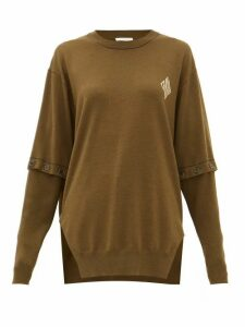 Chloé - Detachable-sleeve Wool Sweater - Womens - Khaki