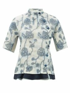 Chloé - Floral-embroidered Silk Organza Blouse - Womens - Blue Multi
