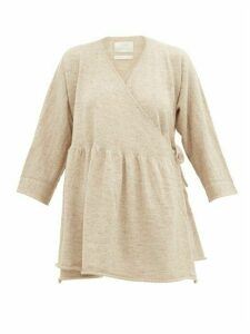 Lauren Manoogian - Alpaca And Linen-blend Wrap Cardigan - Womens - Light Beige
