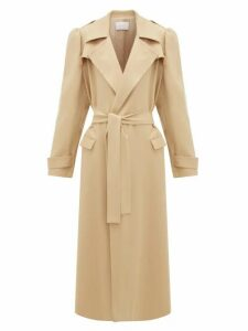 Ryan Roche - Puffed-sleeve Wool-gabardine Trench Coat - Womens - Beige