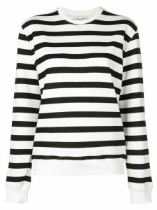 Saint Laurent crew neck striped sweatshirt - White