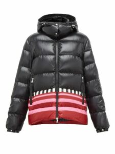 1 Moncler Pierpaolo Piccioli - Gabrielle Striped-hem Padded Hooded Jacket - Womens - Black Pink