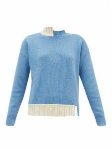 Marni - Asymmetric Wool-blend Sweater - Womens - Blue Multi