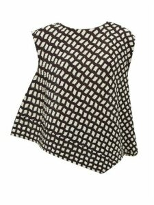 Pleats Please Issey Miyake - Check-print Asymmetric Technical Pleated Top - Womens - Black White