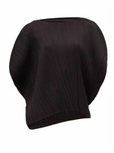 Pleats Please Issey Miyake - Oversized Pleated Technical Top - Womens - Black