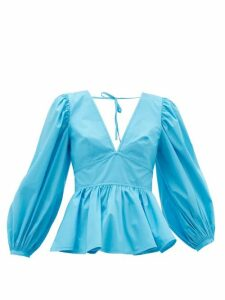 Staud - Luna Peplum-hem Cotton-blend Top - Womens - Blue