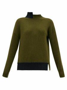 Marni - Open-back Stepped-collar Wool-blend Sweater - Womens - Green Multi