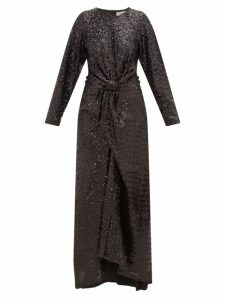Preen By Thornton Bregazzi - Loena Sequinned-jersey And Silk-satin Maxi Dress - Womens - Black