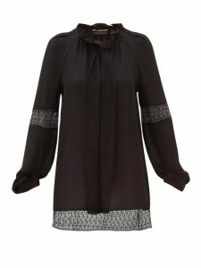 Roland Mouret - Lolo Lace-inset Silk-georgette Blouse - Womens - Black