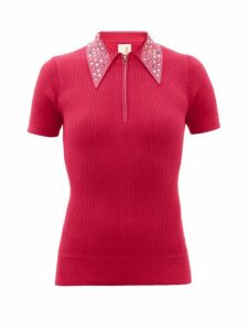 Joostricot - Crystal-collar Cotton-blend Peachskin Polo Shirt - Womens - Pink