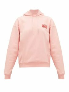 Martine Rose - Logo-embroidered Cotton-jersey Hooded Sweatshirt - Womens - Pink