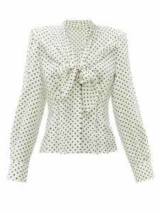 Dolce & Gabbana - Tie-front Polka Dot-print Silk Top - Womens - White Black