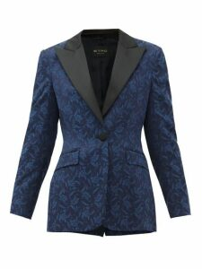 Etro - Acacia Single-breasted Floral-jacquard Jacket - Womens - Blue Multi