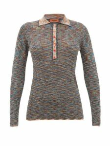 Missoni - Metallic Long-sleeved Striped-knit Polo Shirt - Womens - Black Multi