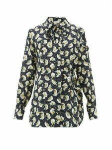 Chloé - Pussy-bow Floral-print Silk Wrap Blouse - Womens - Navy Print