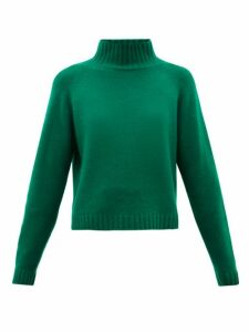 The Elder Statesman - Highland Stand-collar Cropped Cashmere Sweater - Womens - Green