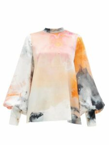 Roksanda - Cala Balloon-sleeve Space-print Silk Blouse - Womens - Orange