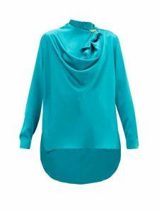 Roksanda - Limela Brooch-embellished Draped Silk-satin Blouse - Womens - Blue