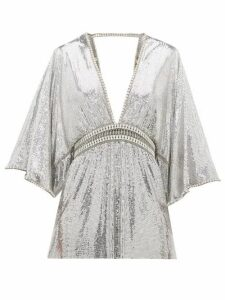 Paco Rabanne - Crystal-embellished Plunge-neck Top - Womens - Silver